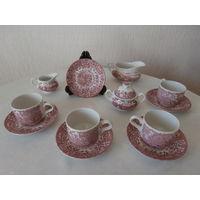 Сервиз чайный 4 персоны 11 предметов 17-th Century England ручная роспись худ. W.N.Mellor производитель Royal Tudor Ware Англия.