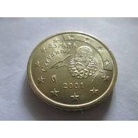 50 евроцентов, Испания 2001 г., AU