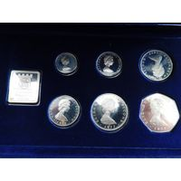100. Осторов Мен, все монеты в серебре, оригинальная коробка.