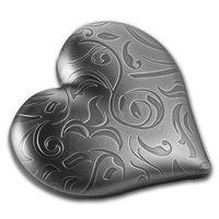 """Палау 5 долларов 2018г. """"Сердце"""". Монета в подарочном футляре; сертификат; коробка. СЕРЕБРО 31,135 гр. (1 oz)."""