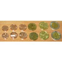 Азербайджан компл 6 монет UNC 1,3,5,10,20,50 гяпик