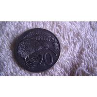 Новая Зеландия 20 центов 1986г. Птица Киви. распродажа