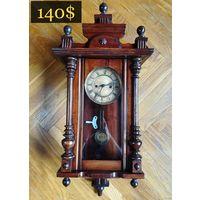 Антикварные Настенные Часы с Боем HAU (Hamburg Amerikanische Uhrenfabrik) Начало ХХ века