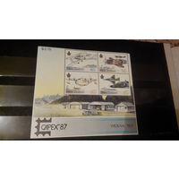 Транспорт, авиация, самолеты, воздушный флот, архитектура, пейзажи, марки, Новая Зеландия, 1987, блок