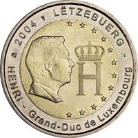 2 евро 2004 Люксембург Великий Герцог Анри UNC из ролла