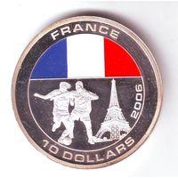 Либерия. 10 долларов 2005 г. Футбол, сборная Франция - состояние !