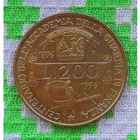 """Италия 200 лир 1993 года """"70 лет Военной Авиации"""". ВВС Италии."""