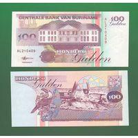 Банкнота Суринам 100 гульденов 1998 UNC ПРЕСС