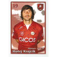 Matej Krajcik(Reggina, Италия). Живой автограф на большой карточке.