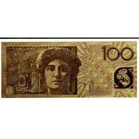 YS: Австралия, сувенирная золотая банкнота 100 долларов