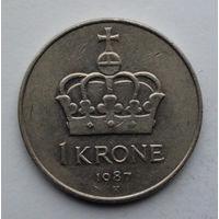 Норвегия 1 крона. 1987