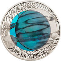 "Палау 2 доллара 2018г. ""Солнечная система: Уран"". Монета в капсуле; подарочном футляре; сертификат; коробка. СЕРЕБРО 8,3гр.; НИОБИЙ 6,7гр."