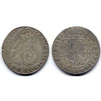 Орт 1668 TLB, Ян II Казимир Ваза, Вариант с гербом Слеповрон в щите на Ав.