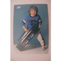 Календарик, 1991, Мальчик, магнитола.