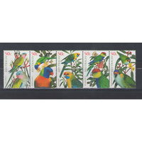 Австралия Попугаи 2005 год чистая полная серия из 5-ти марок в сцепке