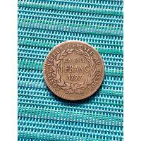 Мартиника Французская 1 франк 1897 г., редкость
