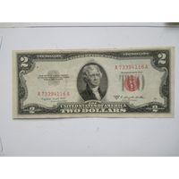 США 2 $  1953 B красная печать
