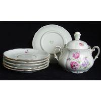 Сахарница + 6 тарелочек чайных TRIPTIS 50-е годы Германия