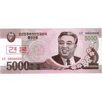КНДР, 5 000 вон, 2008 г., образец, UNC