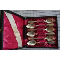 Чайные ложки , Германия, начало 20 века, серебро 800, длина 15,7 см, набор 6 штук в родном футляре