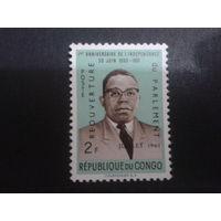 Конго 1961 президент, надпечатка Mi-1,8 евро