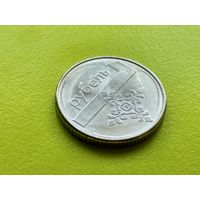 Республика Беларусь (РБ). 1 рубль 2009. Брак заготовки + смещение.