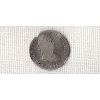 Испания 2 реала 1824 /серебро//(Ст)