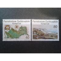 Лихтенштейн 1977 Европа, карта страны, природа
