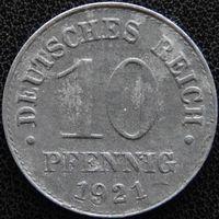YS: Германия, 10 пфеннигов 1921, цинк, KM# 26 (1)