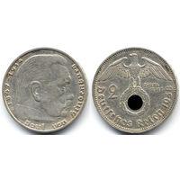 2 марки 1938 E, Германия, Мюльденхюттен. Коллекционное состояние