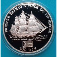 Джибути 100 франков 1994 Парусный фрегат XVII века Серебро.