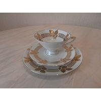 Чайное трио / тройка высококачественный фарфор золочение Winterling Roslau Bavaria Германия.