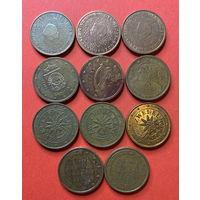 Евроценты 2ц - 6 стран, 11 монет, все разные годы