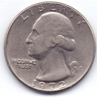 США, 25 центов (квотер) 1972 года.