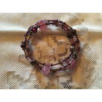 Браслет Розовое и Аметистовое стекло Германия винтаж
