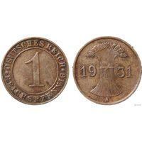 YS: Германия, 1 рейхспфенниг 1931A, KM# 37 (2)