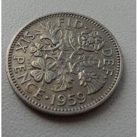 6 пенсов Великобритания 1959 г.в. KM# 903, 6 PENCE, из коллекции