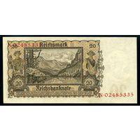 Германия. 20 Марок 1939 года. P185, XF+/aUNC