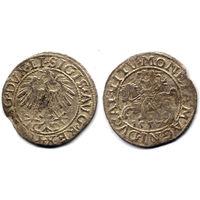 Полугрош 1557, Жигимонт Август, Вильно. Окончания легенд: Ав - LI, Рв - LITV