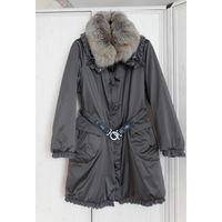 Пальто SALCO Италия Р-р 48 Стальной цвет. Натуральный мех снимается .Р-ры на схеме