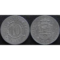 YS: Германия, Posen, 10 пфеннигов 1917, нотгельд города Позен, цинк, Funck# 429.1