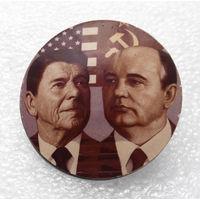 Значок. Р. Рейган, М. Горбачев #0358