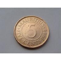 Маврикий.(Британ) 5 центов 1944 год KM#20 Редкая!!!