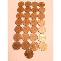 5 сантимов Франция 29 шт разные года
