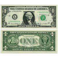США. 1 доллар (образца 1969 года, 1969D, L, Калифорния, P449e, UNC)
