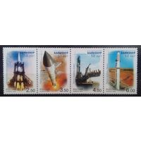 50 лет космодрому Байконур, Россия, 2004 год, сцепка из 4 марок