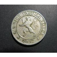 БЕЛЬГИЯ 20 сантимов 1861 никель, нечастая!