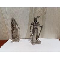 Воины-индейцы, силумин, 4 см, одним лотом.