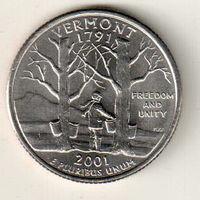 США квотер 2001 штат Вермонт