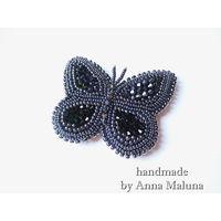 """Брошь-бабочка ручной работы """"Черный махаон"""" из бисера, натуральной кожи и натуральных камней"""